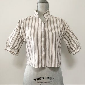 Short sleeve striped cropped button up shirt